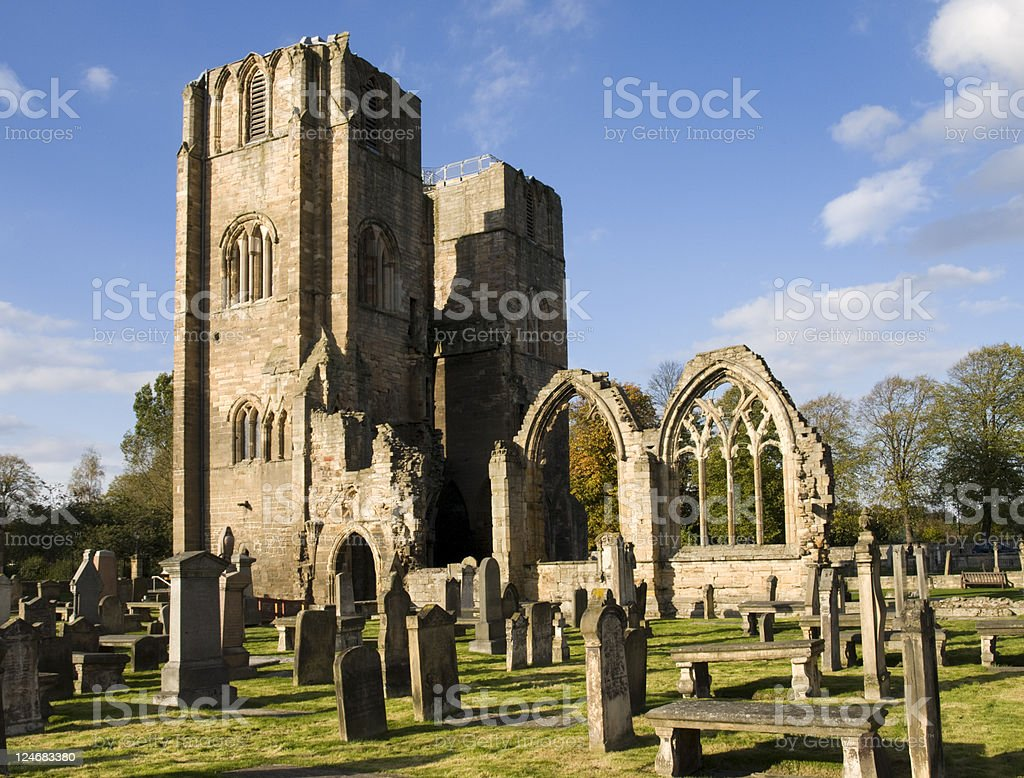 Elgin Cathedral and Graveyard, Scotland stock photo