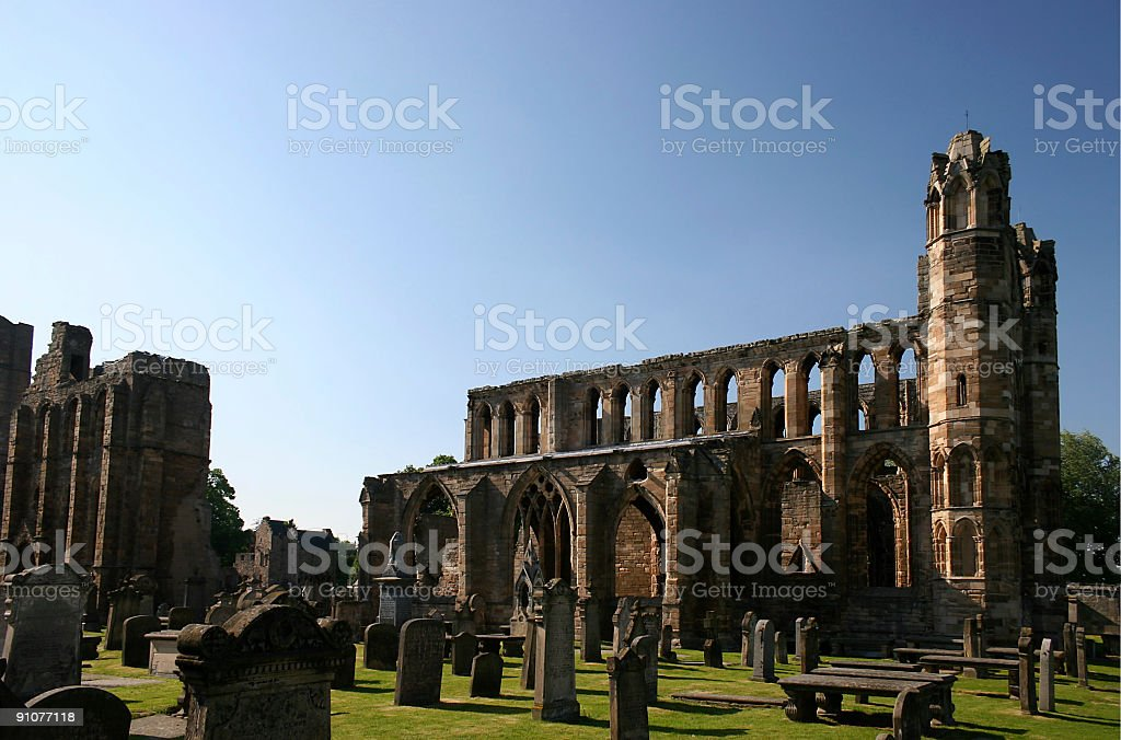 Elgin Cathedral Ruins and Graveyard royalty-free stock photo