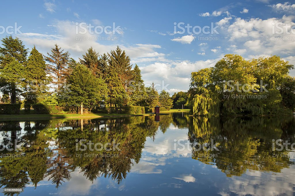 Elgin, Cooper park boating pond. stock photo