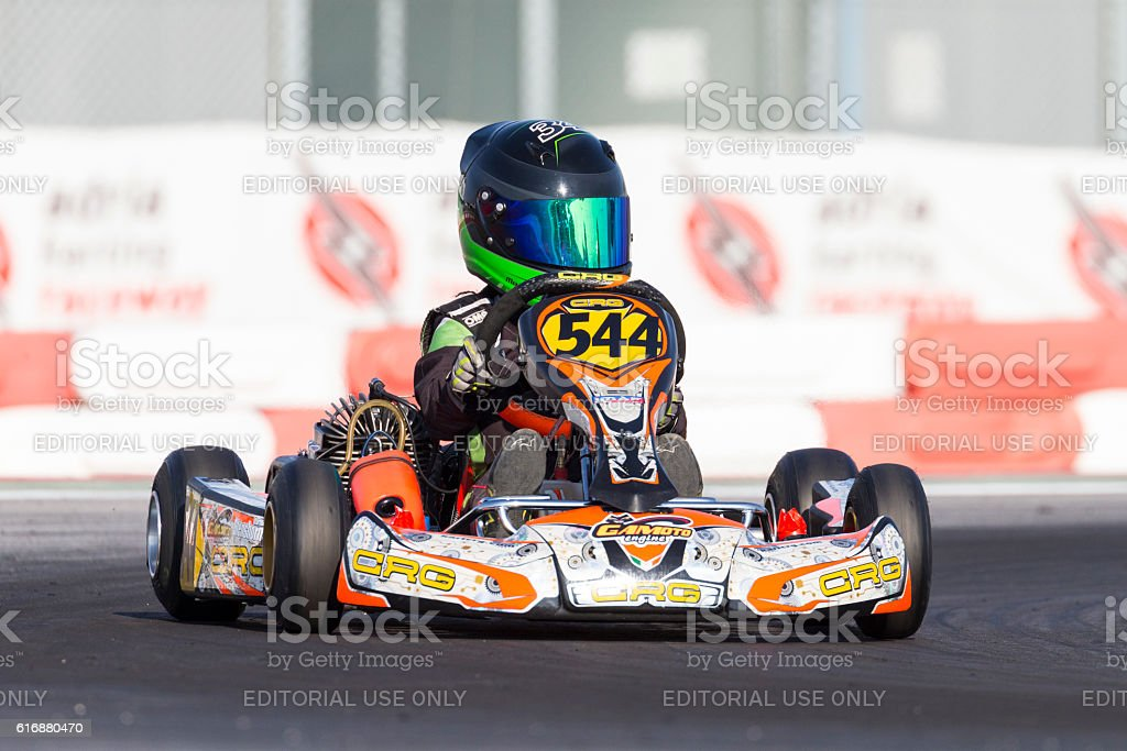 Eliminatory heat in the Wsk Mini Final Cup stock photo