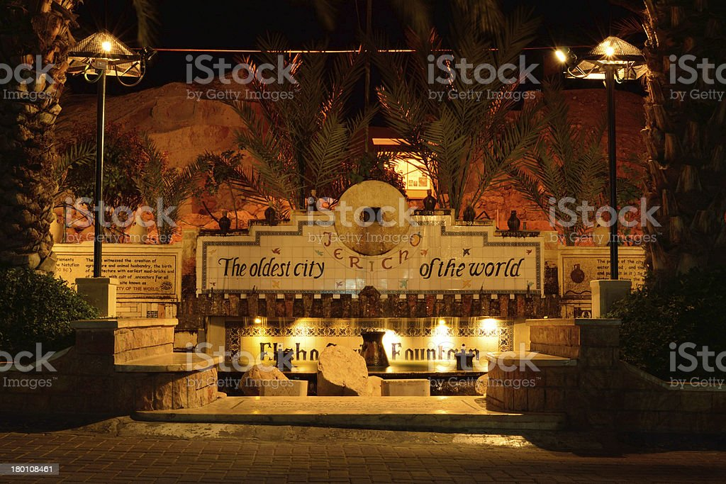 Elisha?s Springs in Jericho (West Bank) at night stock photo