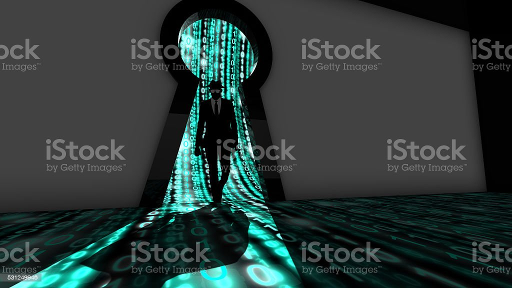 Elite hacker entering a room in turquoise stock photo