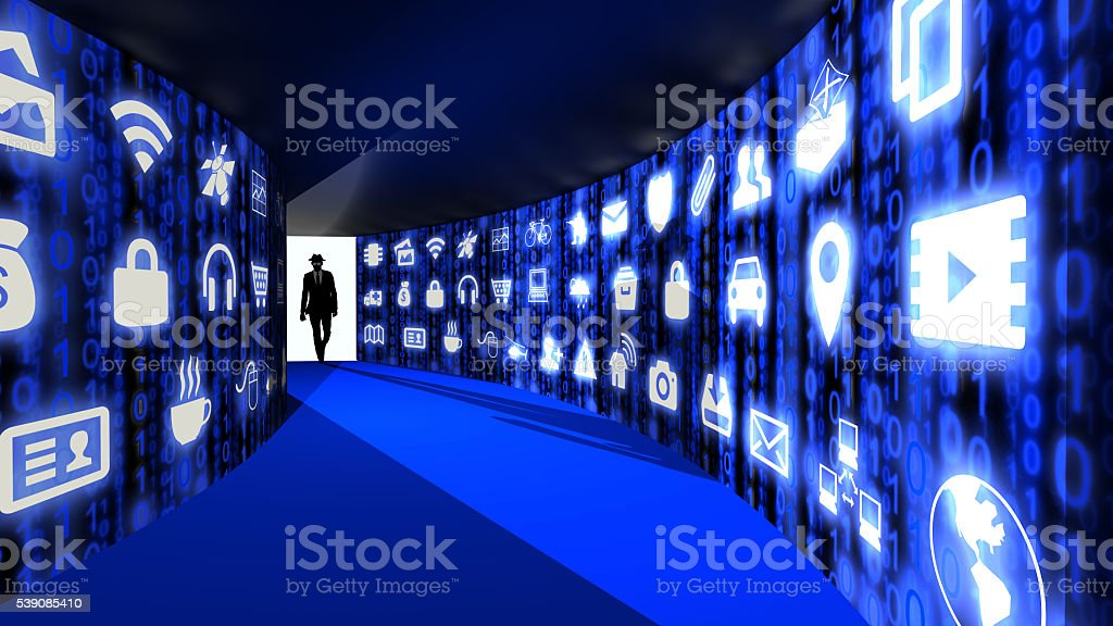 Elite hacker enters internet of things corridor stock photo