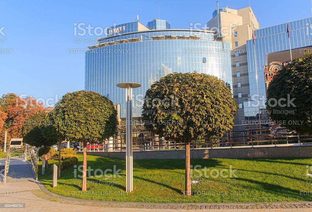 Elite Hotel Hyatt in downtown Kiev stock photo