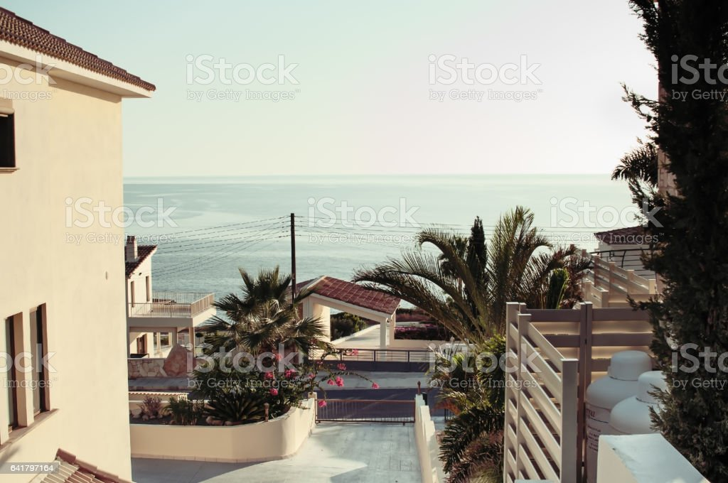 Elite luxury residential area on the coast stock photo