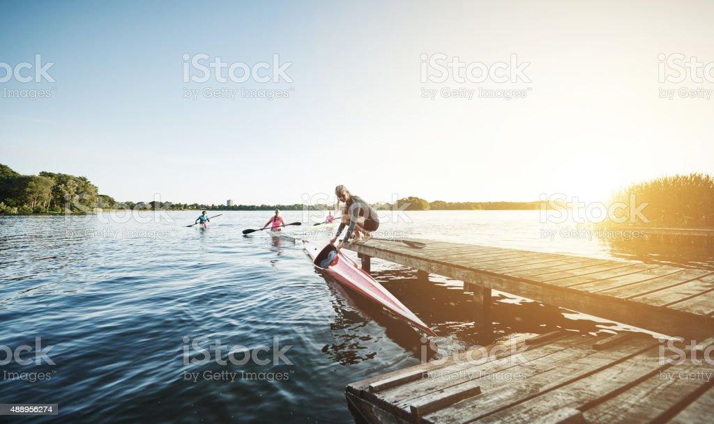 Elite sports rowing team stock photo