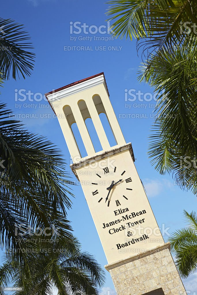 Eliza James-McBean Clock Tower, St. Croix, US Virgin Islands stock photo
