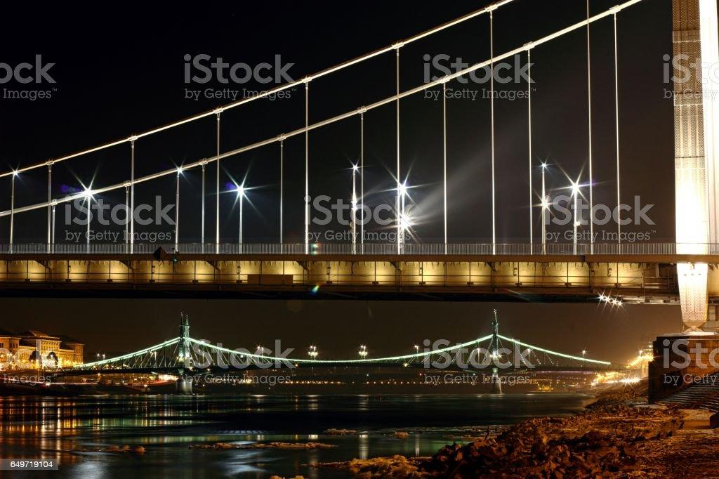 Elizabeth bridge and Freedom bridge at Budapest. stock photo