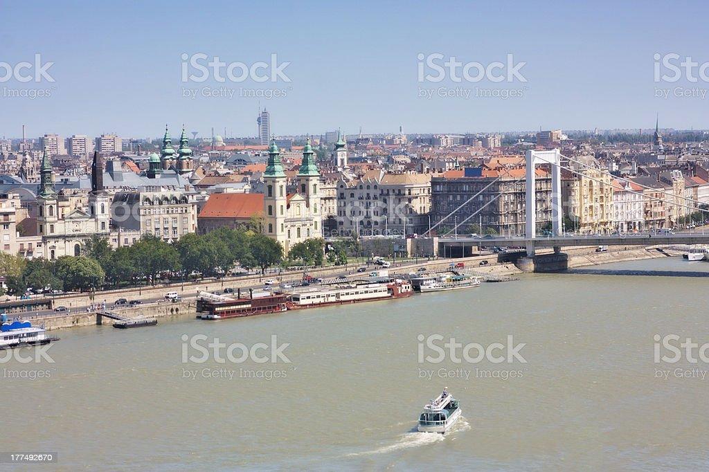 Elizabeth bridge city view of Pest, Budapest Hungary stock photo
