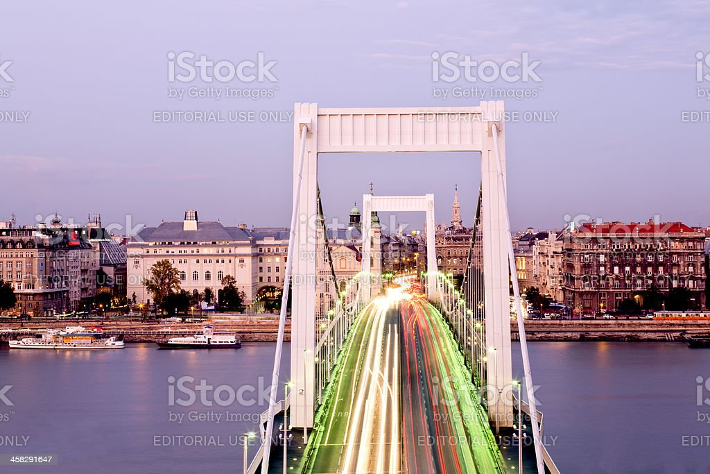 Elizabeth Bridge in Budapest during rush hour royalty-free stock photo