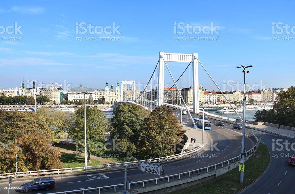 Elizabeth Bridge leading to Pest stock photo