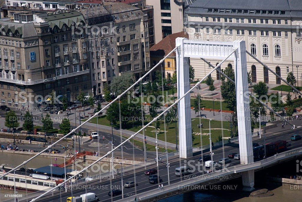 Elizabeth Bridge seen from Gellert Hill, Budapest, Hungary royalty-free stock photo