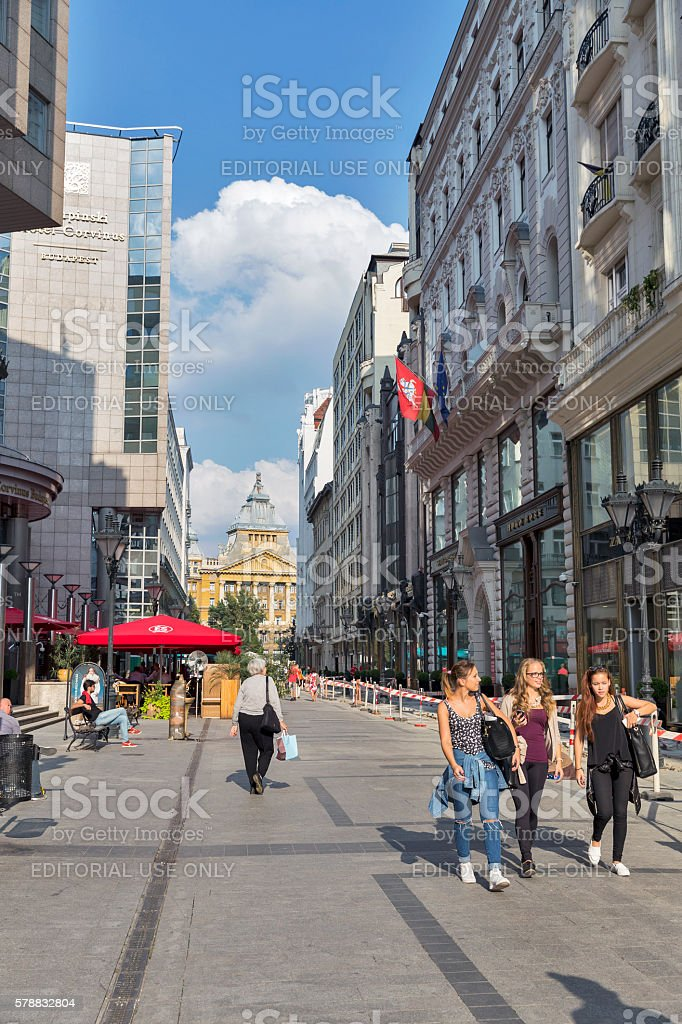 Elizabeth Square in Budapest, Hungary. stock photo
