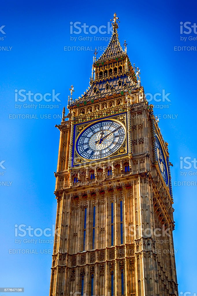 Elizabeth tower and Big Ben in London UK stock photo