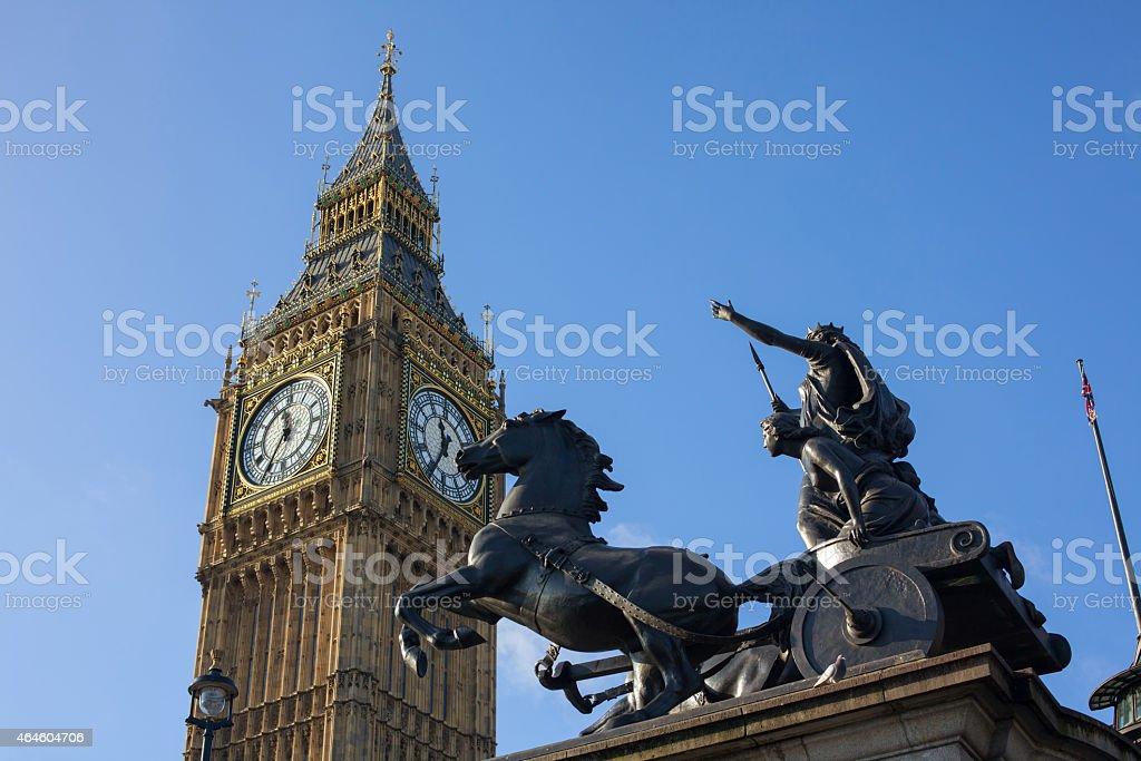 Elizabeth Tower and Boadica statue stock photo