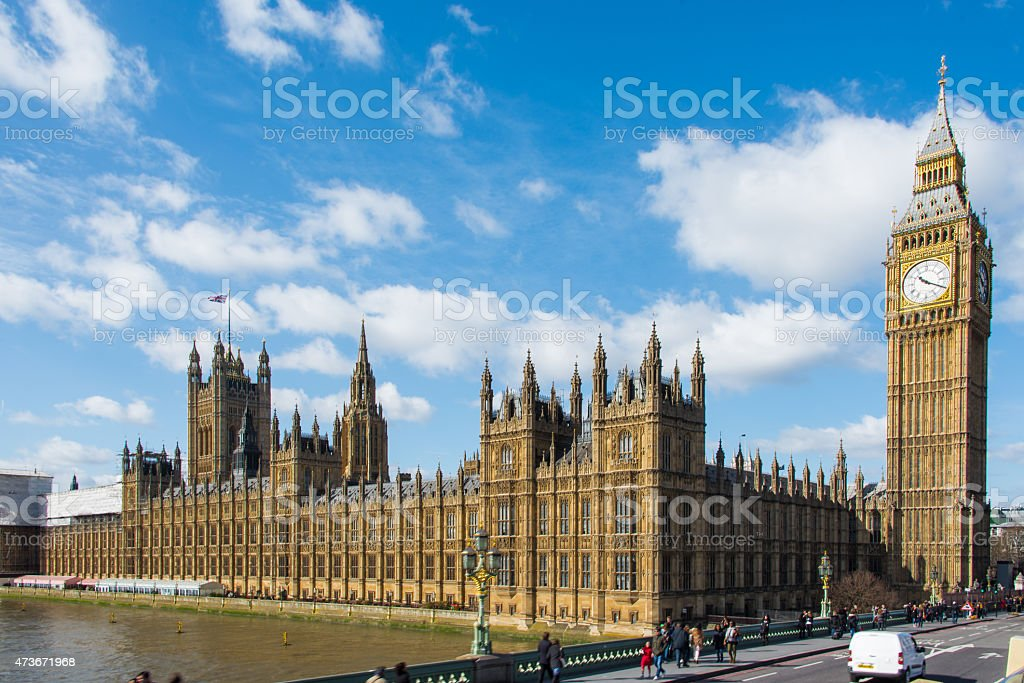 Elizabeth Tower (Big Ben) and the Houses of Parliament stock photo