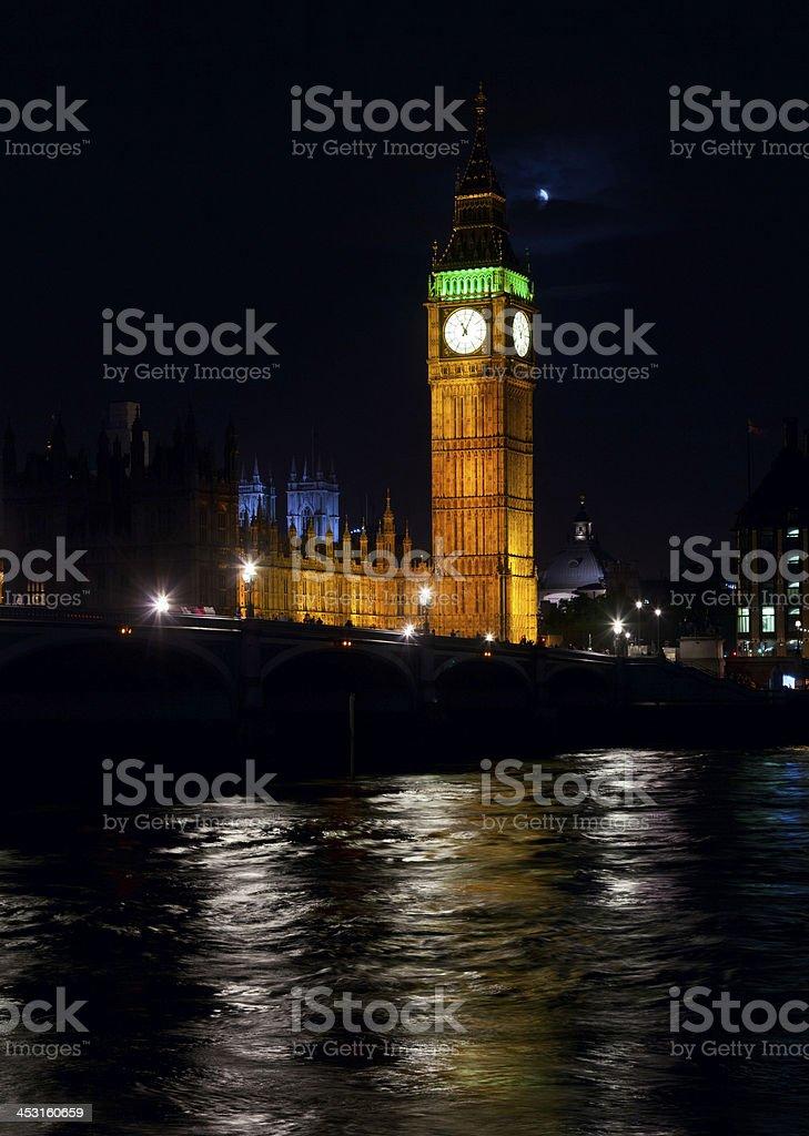 Elizabeth Tower at night royalty-free stock photo