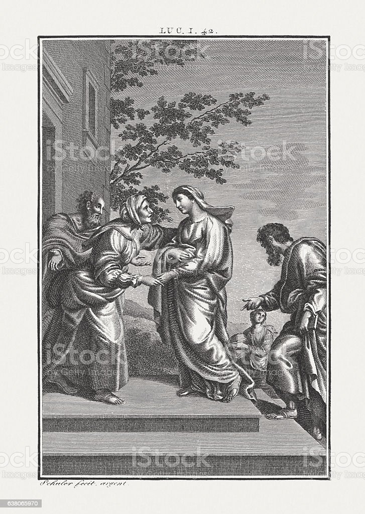 Elizabeth visited by Mary (Luke 1), copper engraving, published c.1850 stock photo