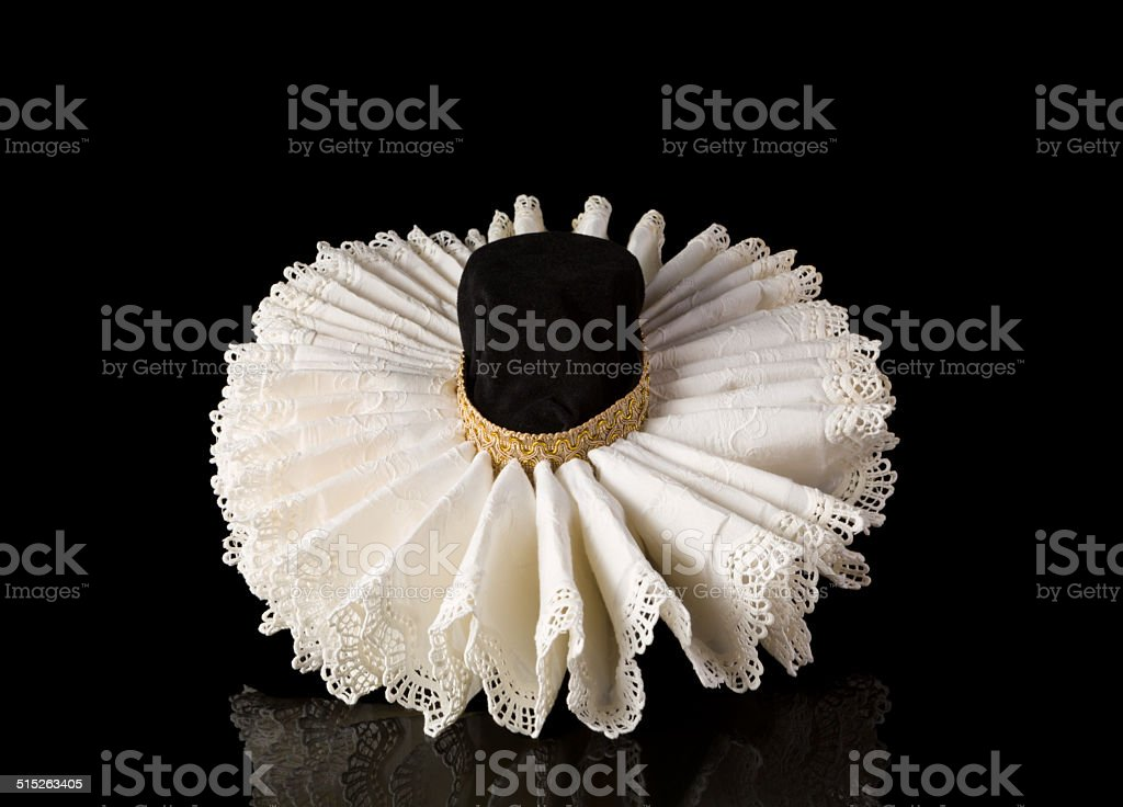 Elizabethan lace ruff collar stock photo
