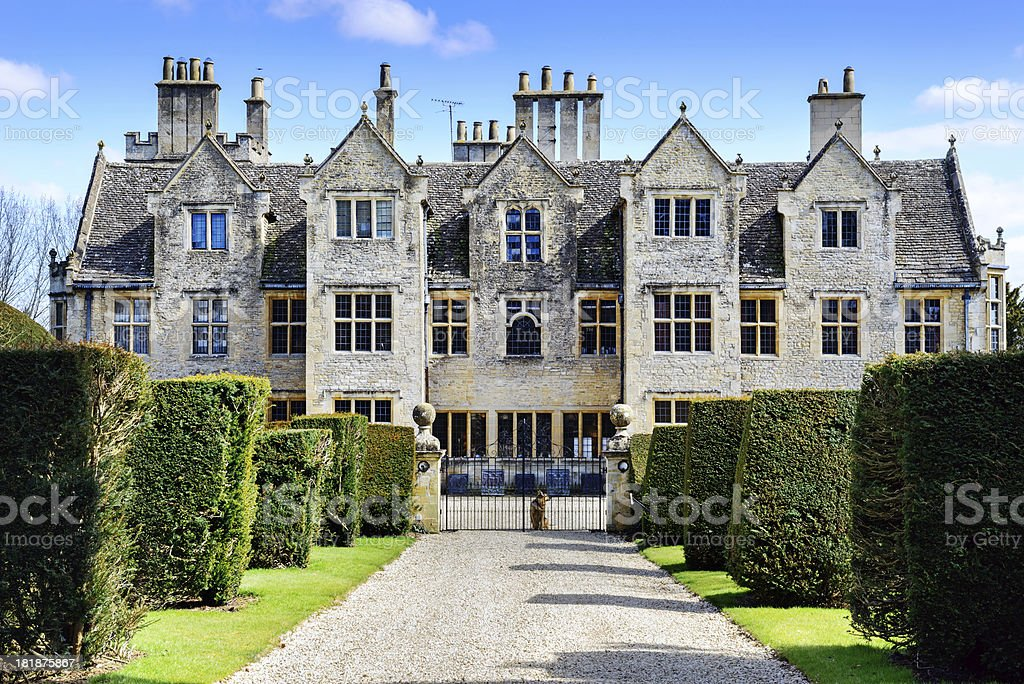 'Elizabethan Manor house in the Cotswolds, Oxfordshire, England' stock photo