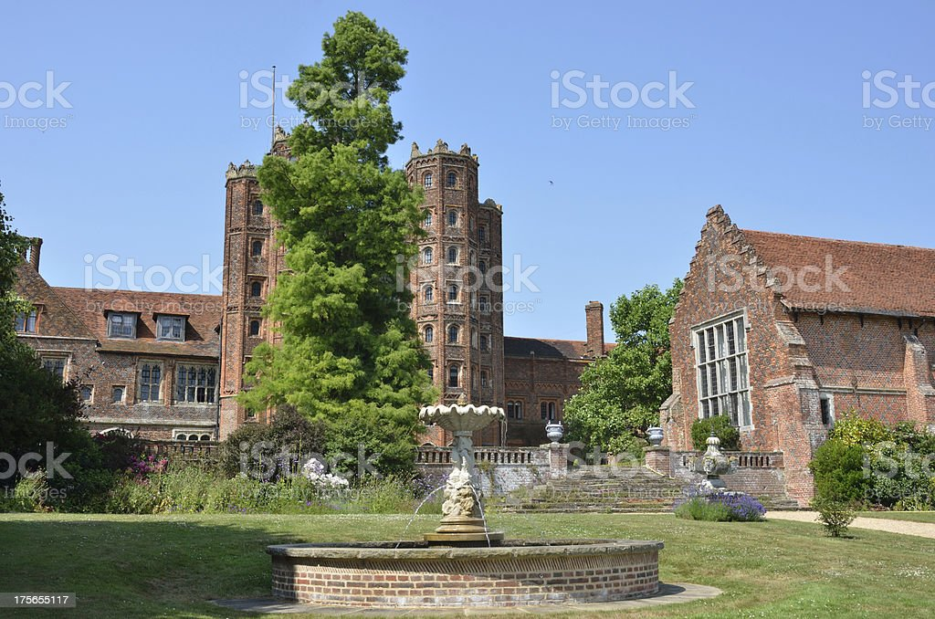Elizabethan mansion with tower and house stock photo
