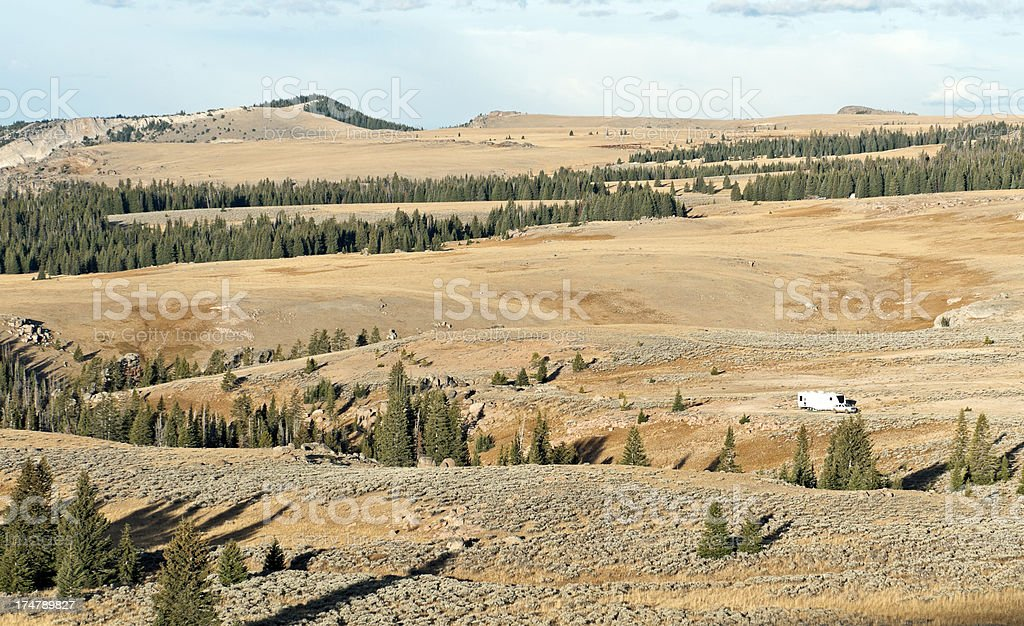Elk hunters' RV in Big Horn Mountains of Wyoming royalty-free stock photo