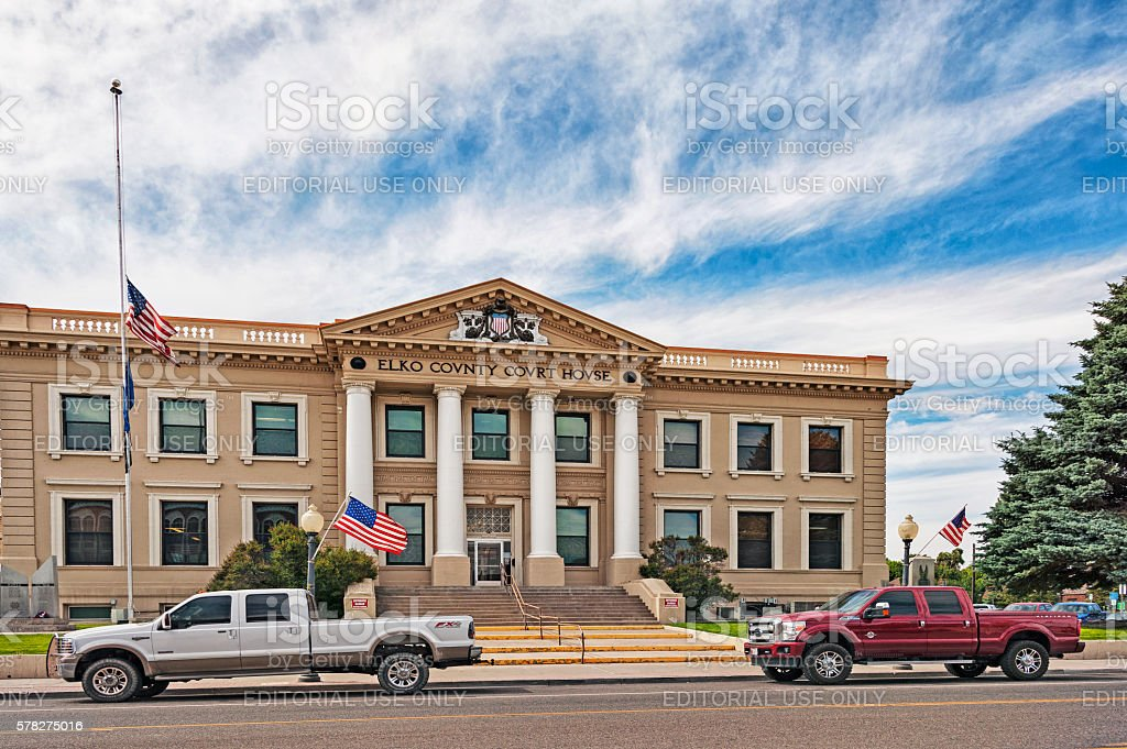 Elko Nevada County Court House with Trucks and Flags stock photo