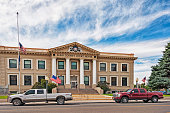 Elko Nevada County Court House with Trucks and Flags