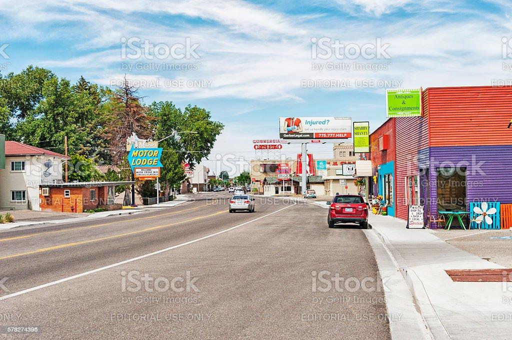 Elko Nevada Road Views Driving Through Town stock photo
