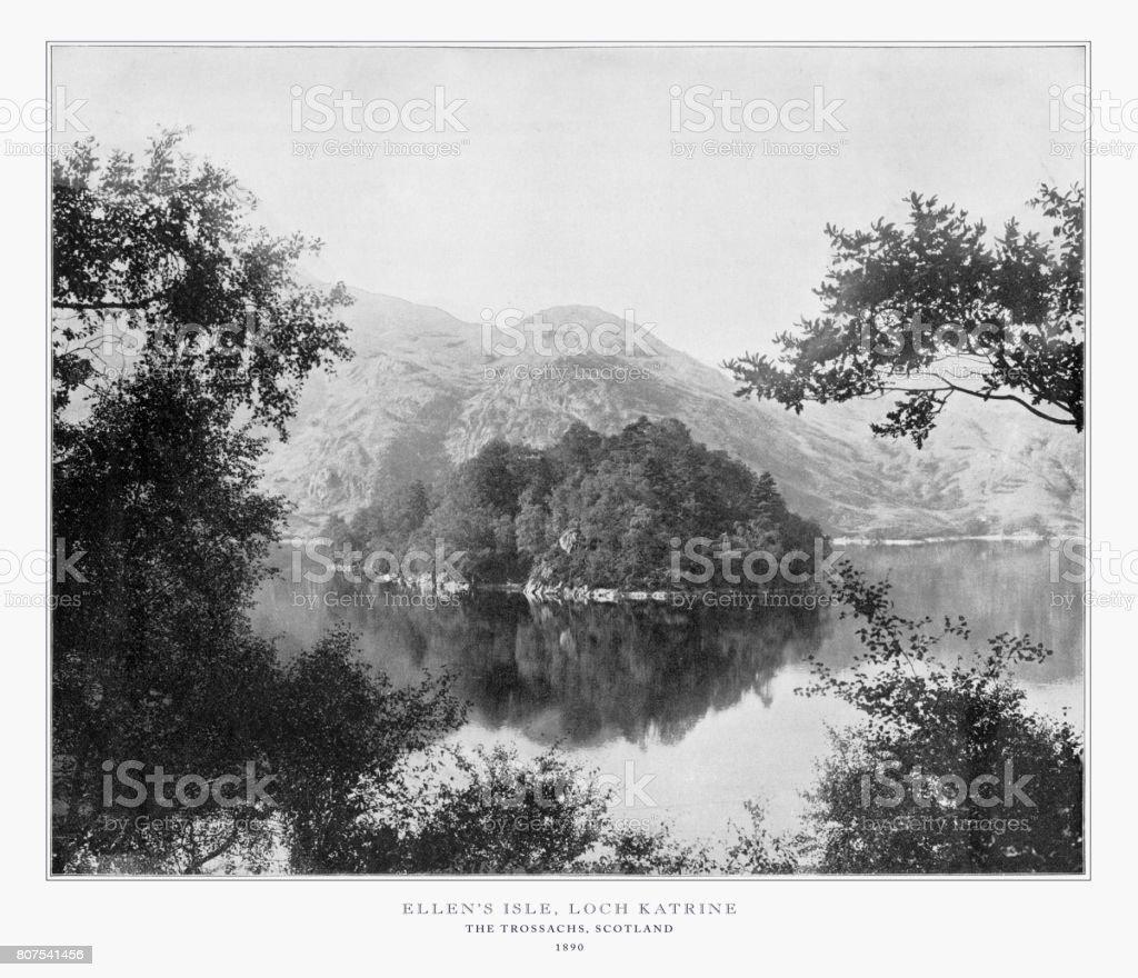Ellen's Isle, Loch Katrine, Scotland, Antique Scotland Photograph, 1893 stock photo