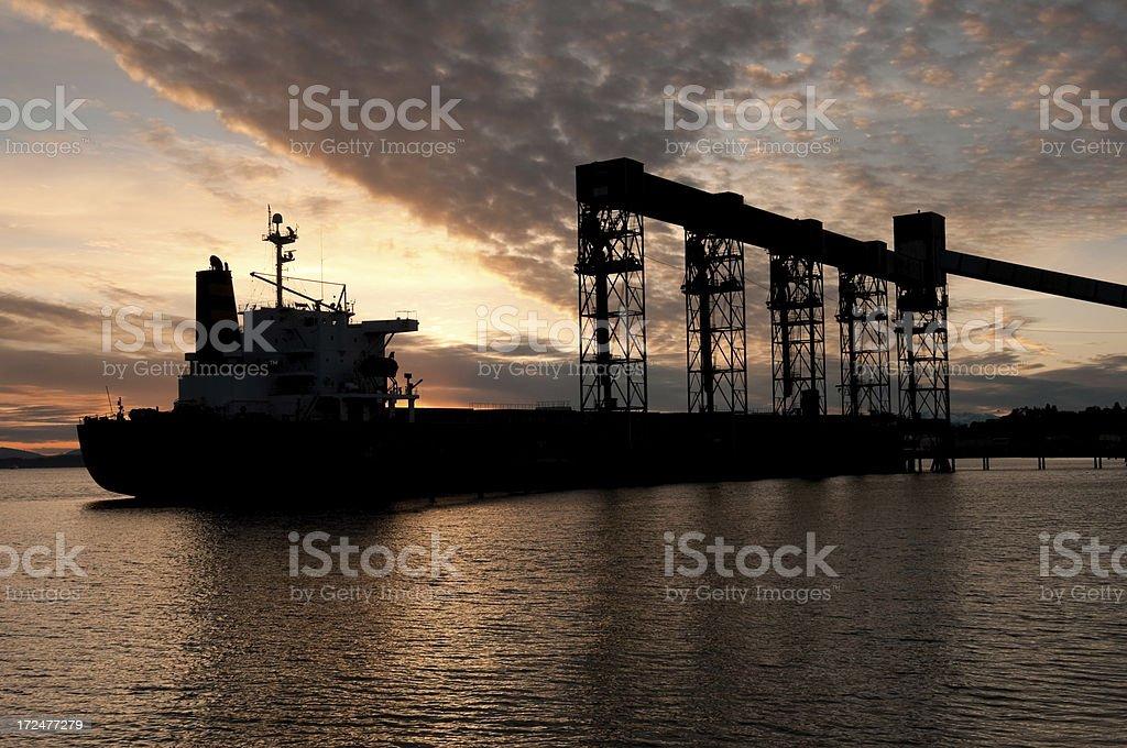 Elliot Bay Shipping Tanker at Sunset royalty-free stock photo