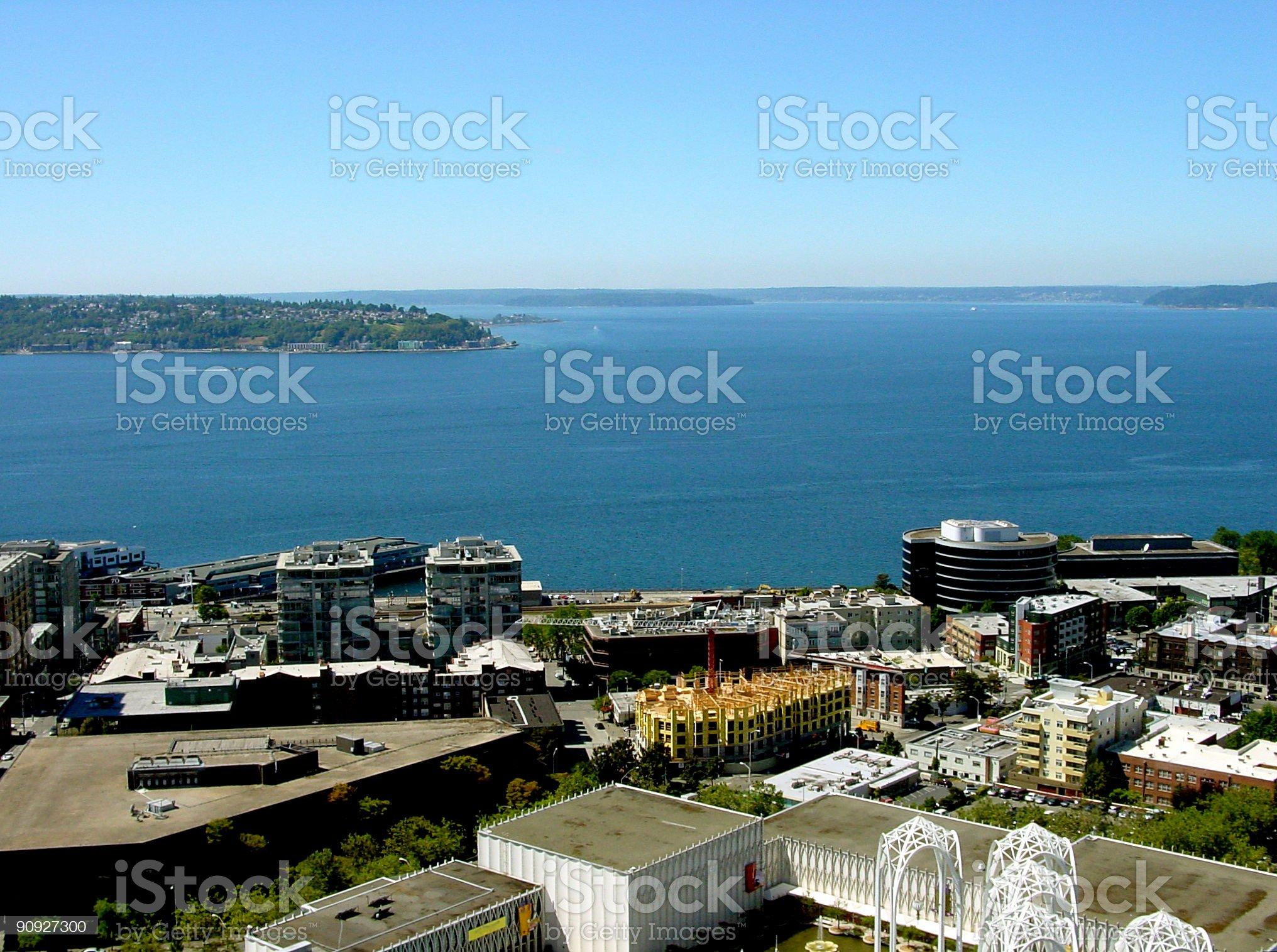 Elliott Bay in Puget Sound, Washington royalty-free stock photo