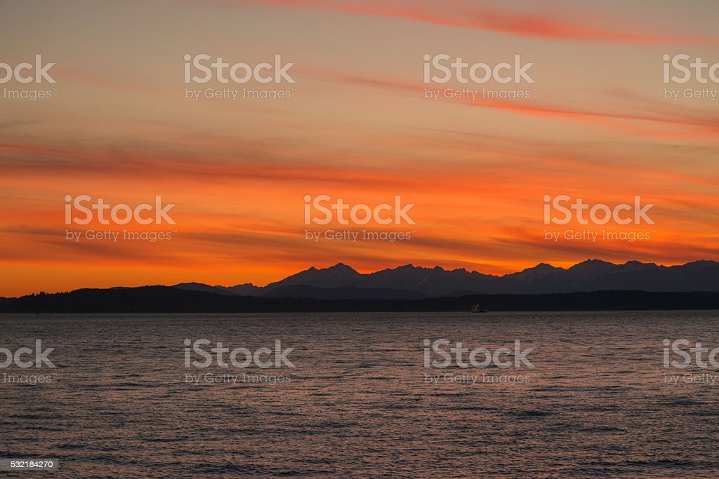 Elliott Bay Sunset stock photo