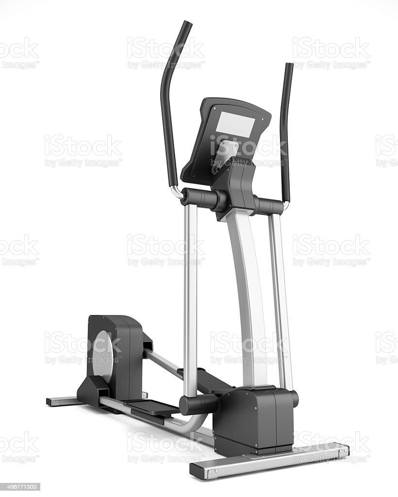 elliptical cross trainer isolated on white background stock photo