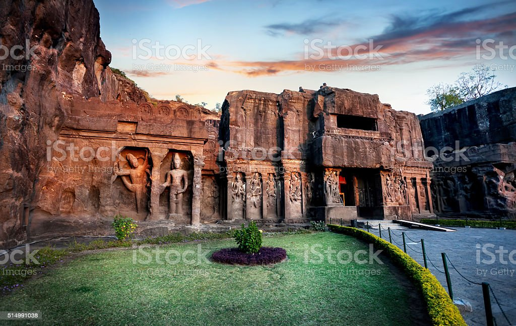 Ellora caves in India stock photo