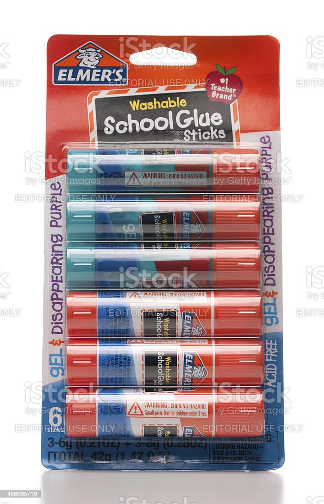 Elmer's washable school glue sticks package stock photo