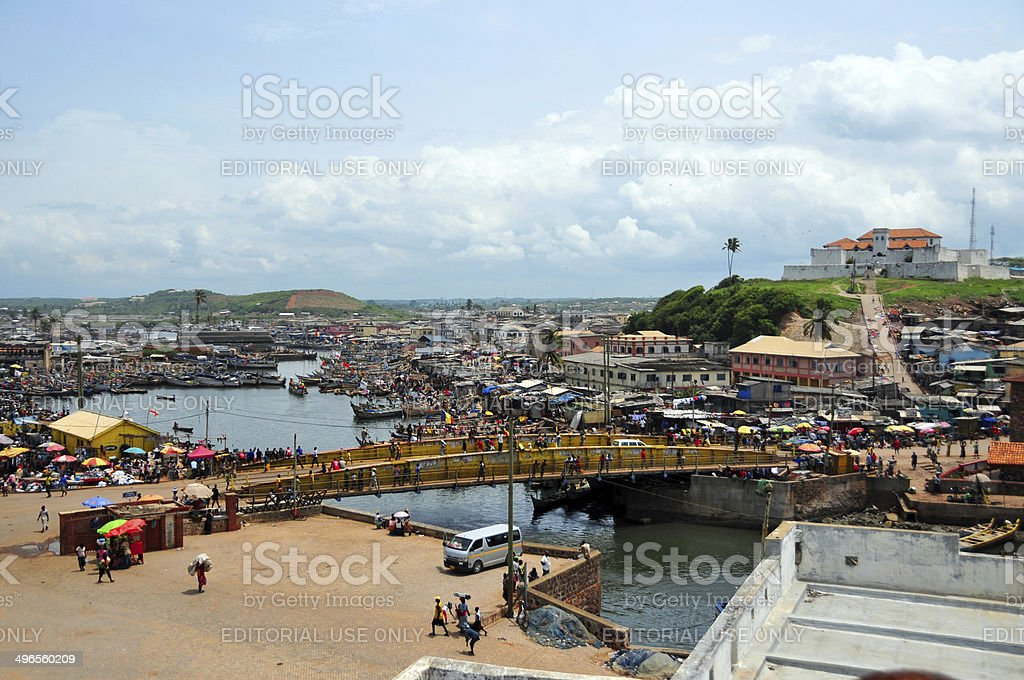 Elmina, Ghana - town and creek stock photo