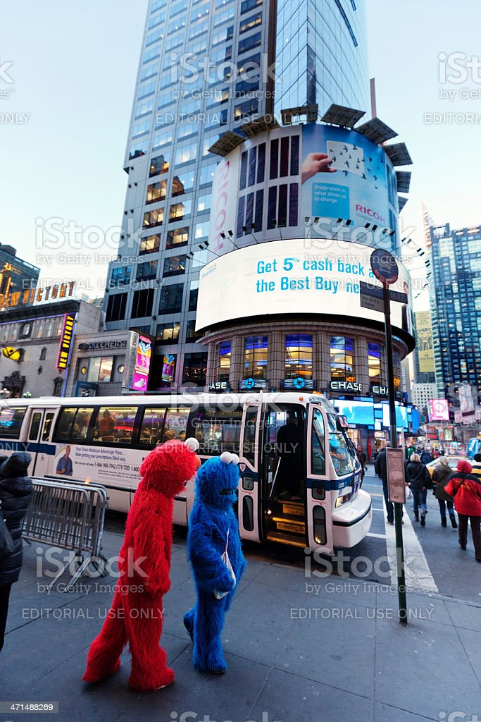 Elmo and Cookie Monster on 42nd Street Manhattan New-York stock photo