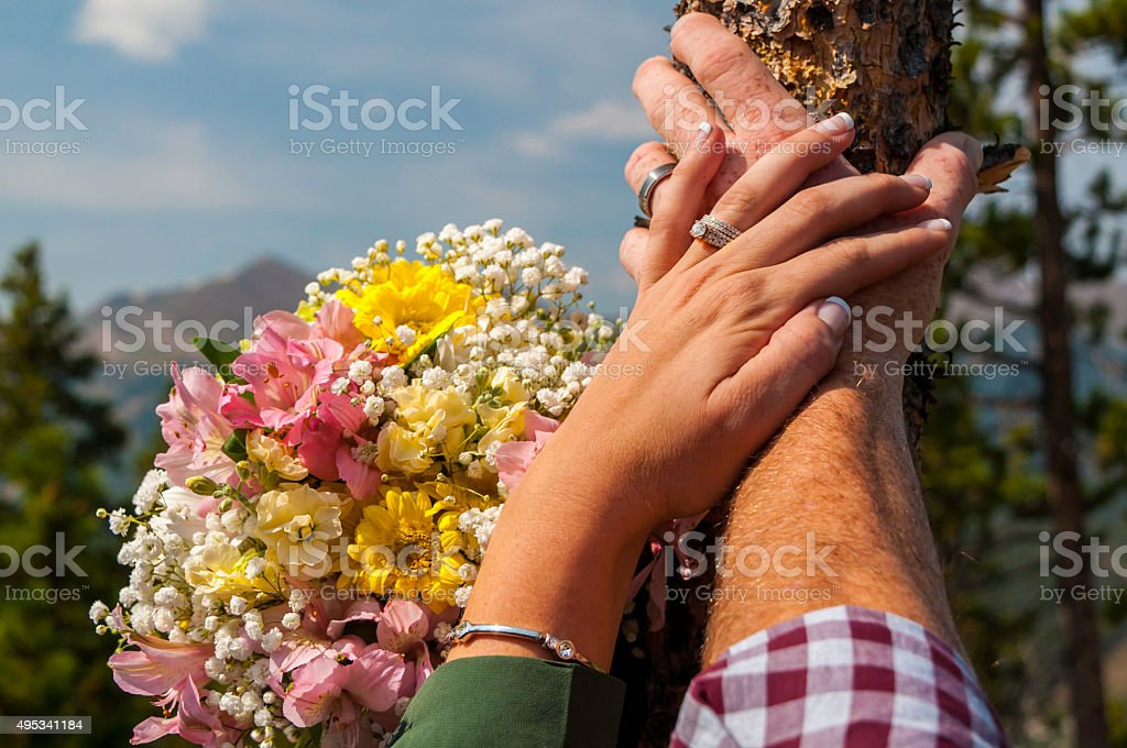 Eloping in the mountains stock photo