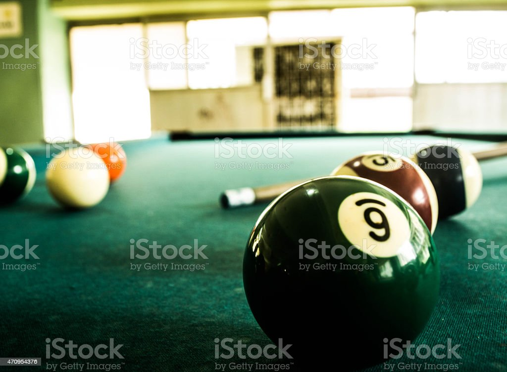 Eloquent green billiard ball number six stock photo