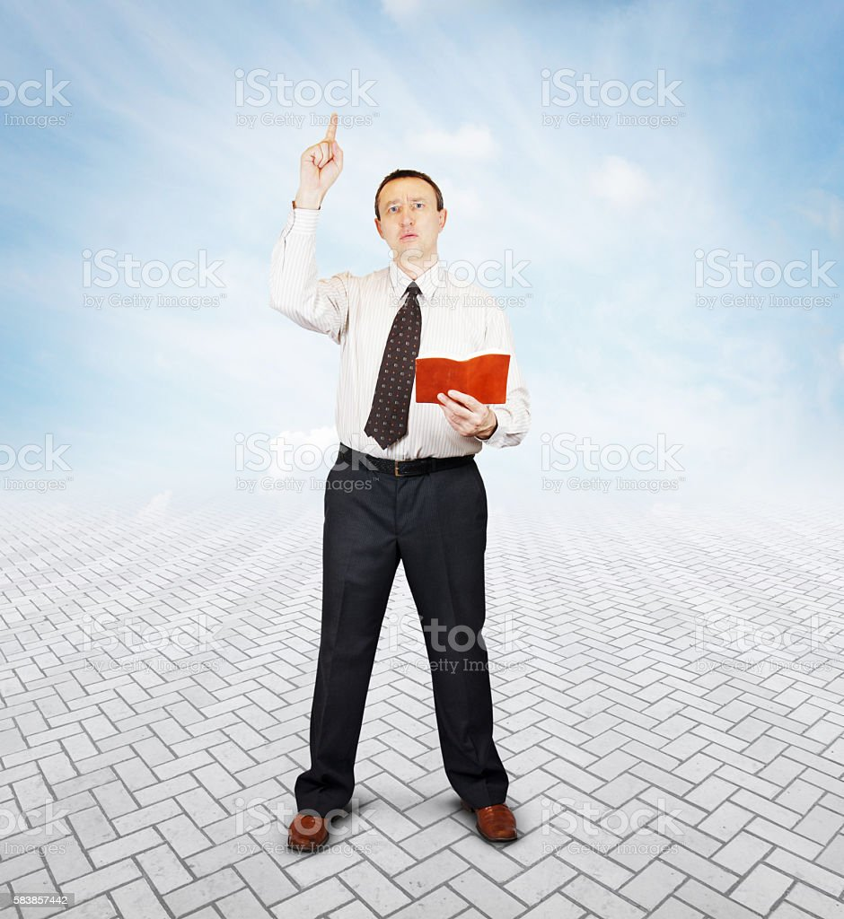 Eloquent speaker makes a speech with expression stock photo