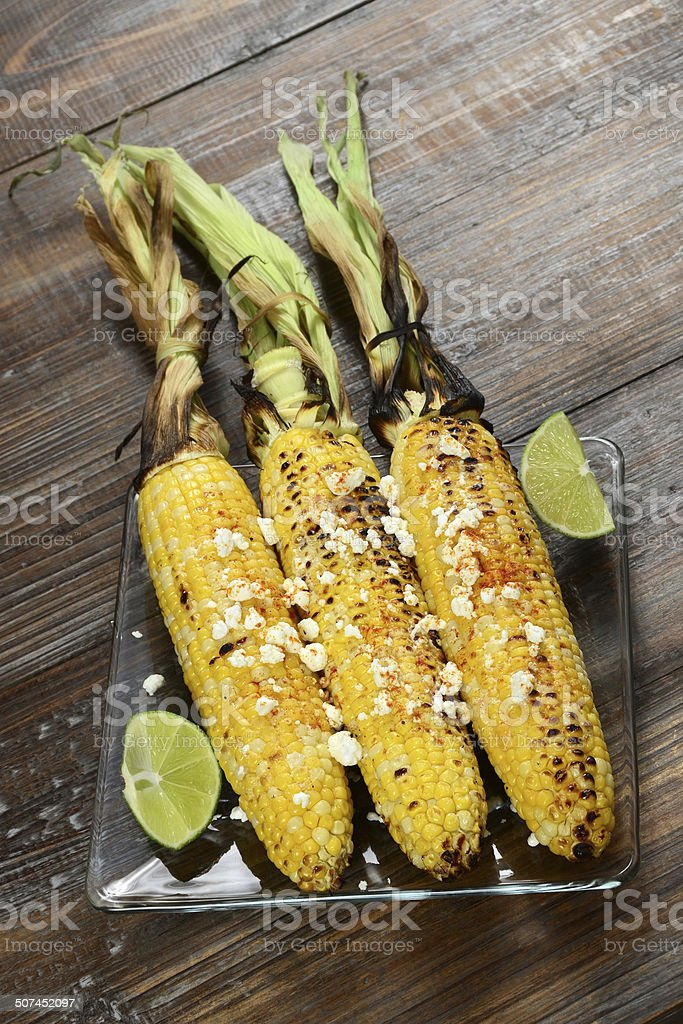 Elote Corn on the Cob stock photo
