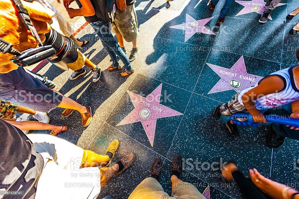 Elton Johns star on Hollywood Walk of Fame stock photo