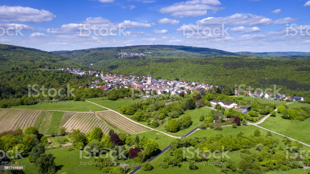 Eltville-Rauenthal, Germany - aerial view stock photo