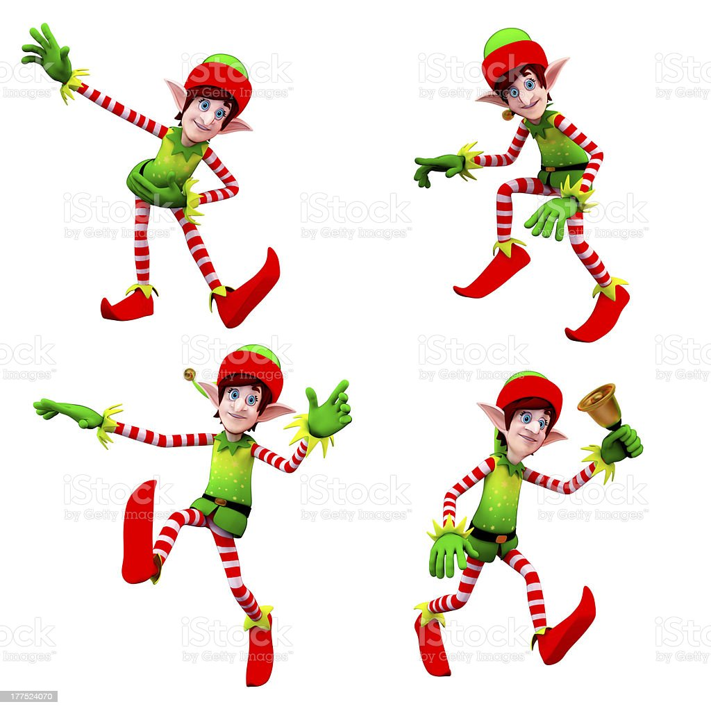 Elves are dancing around with jingle bell stock photo