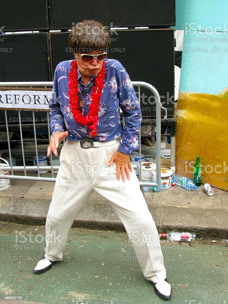 Elvis impersonator at Notting Hill Carnival in London stock photo