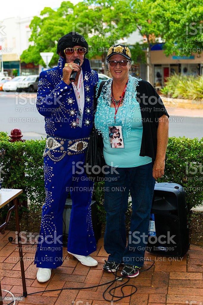 Elvis impersonators and Fans at Parkes Elvis Festival 2016 stock photo