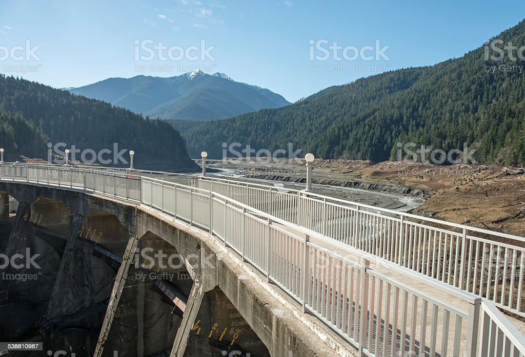 Elwha River After the Dam Observation Deck stock photo