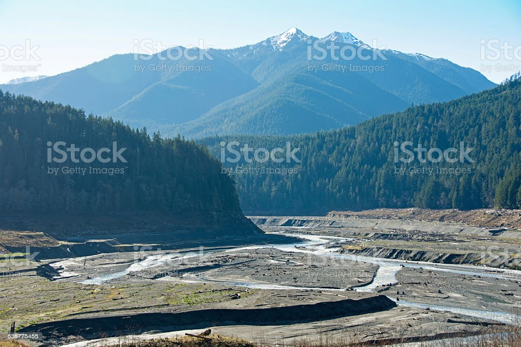 Elwha River After the Dam stock photo