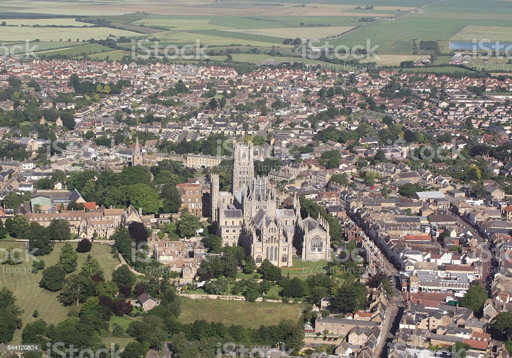 Ely, Cambridgeshire 9am Sunday from 800 feet in the air. stock photo